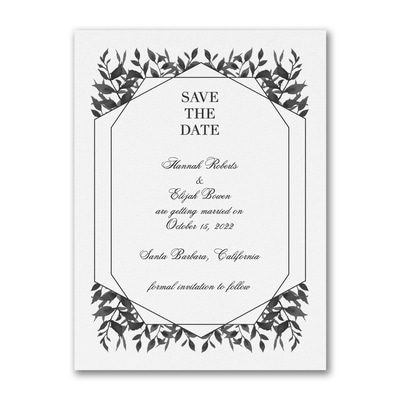 Sophisticated Greenery - Save the Date - White