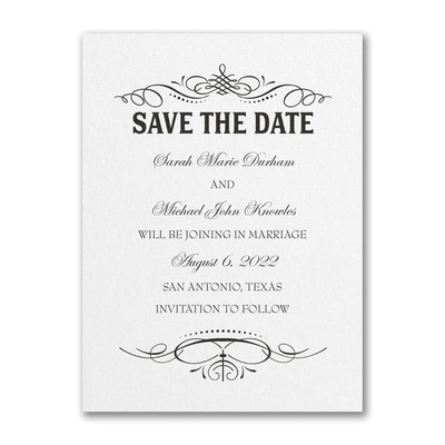 Elegant Day - Save the Date - White Shimmer