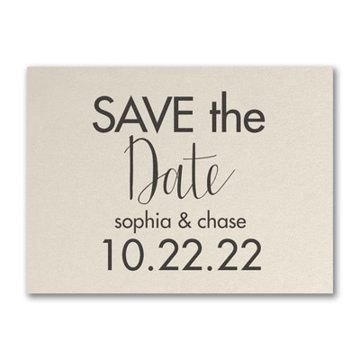 Modern Date - Save the Date - Ecru Shimmer
