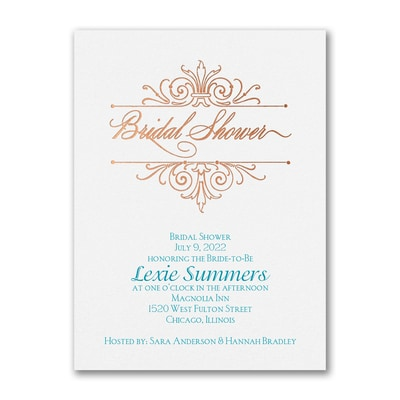 Regal Celebration - Bridal Shower Invitation - White