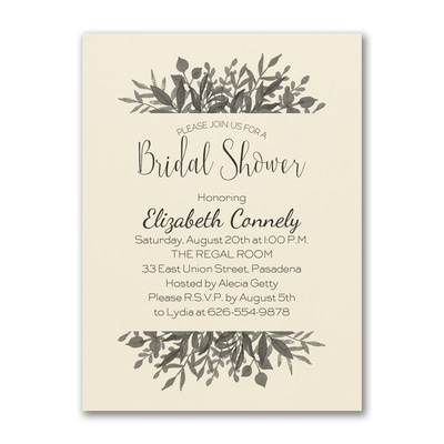 Greenery Shower - Bridal Shower Invitation - Ecru