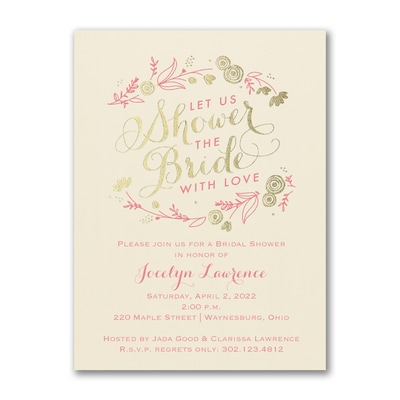 Bridal Flowers - Bridal Shower Invitation - Ecru