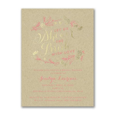 Bridal Flowers - Bridal Shower Invitation - Kraft