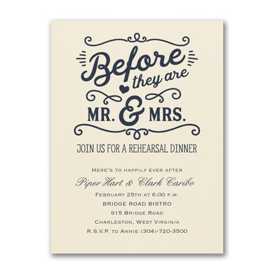 Before Mr. & Mrs. - Rehearsal Dinner Invitation - Ecru