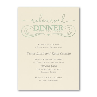 Contemporary Feast - Rehearsal Dinner Invitation - Ecru
