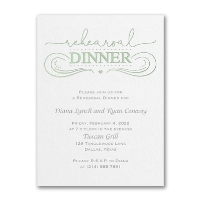 Contemporary Feast - Rehearsal Dinner Invitation - White Shimmer