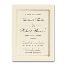 Elegant Dining - Rehearsal Dinner Invitation - Ecru