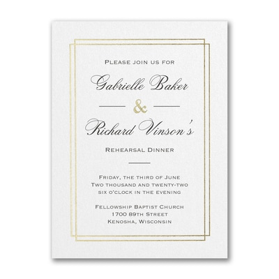 Elegant Dining - Rehearsal Dinner Invitation - White Shimmer