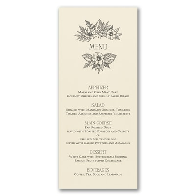 Greenery & Dining - Menu Card - Ecru