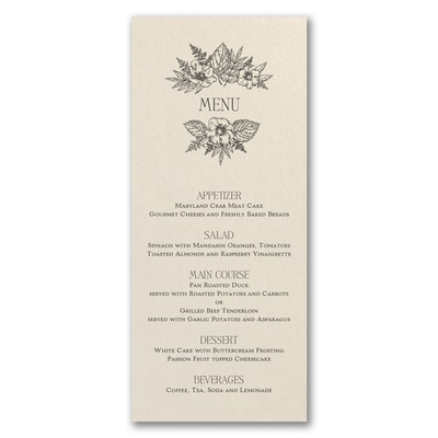Greenery & Dining - Menu Card - Ecru Shimmer