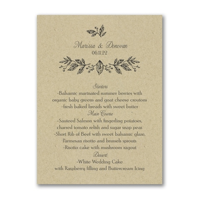 Whimsical Dining - Menu Card - Kraft