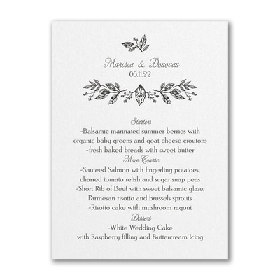 Whimsical Dining - Menu Card - White Shimmer