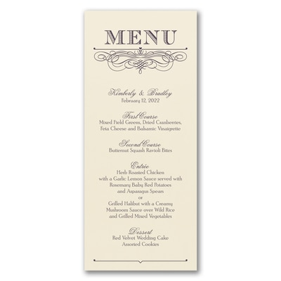 Decorative Menu - Menu Card - Ecru