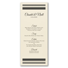 Dinner Stripes - Menu Card - Ecru