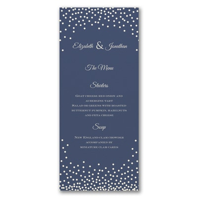 Decadent Dinner - Menu Card - Ecru