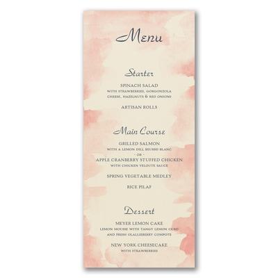 Watercolor Dream - Menu Card - Ecru
