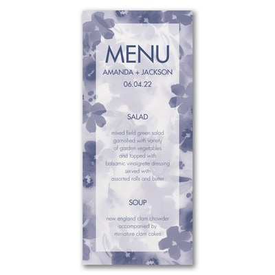 Floral Flare - Menu Card - White