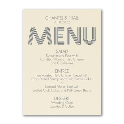 Modern Dinner - Menu Card - Ecru