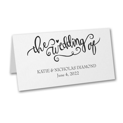 The Wedding of - Place Card - White