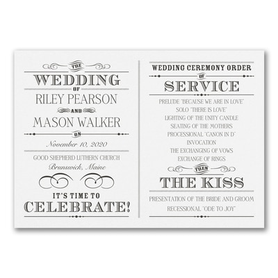 Vintage Nuptial - Program Card - White