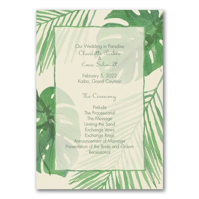 Paradise Wedding Program - Ecru