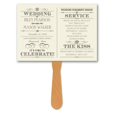 Vintage Nuptial - Program Fan - Ecru