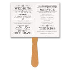 Vintage Nuptial - Program Fan - White