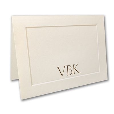 Embossed Panel Large Note Folder - Ecru