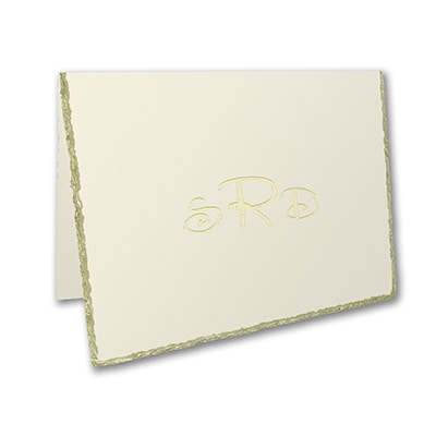 Gold Deckle Edge - Note Folder - Ecru