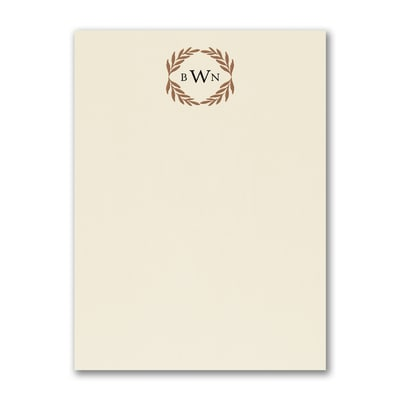 Monogram Wreath - Note Card - Ecru