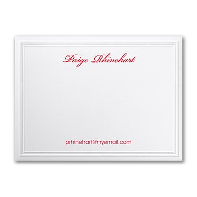 Triple Embossed - Note Card - White