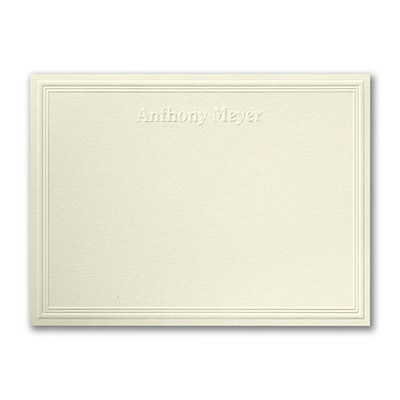 Triple Embossed - Note Card - Embossed - Ecru