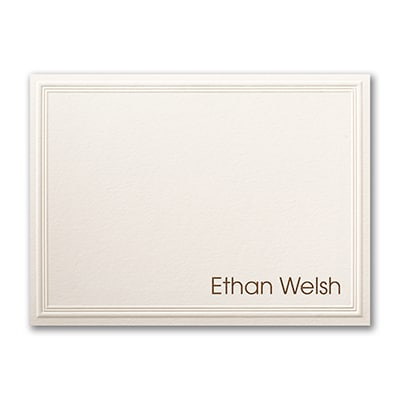 Triple Embossed - Note Card - Ecru