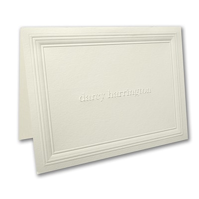 Multi Panel - Large Note Folder - Embossed - Ecru