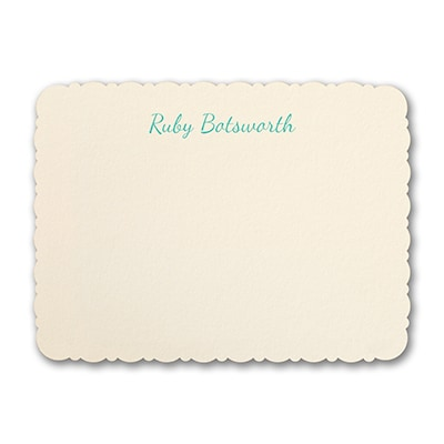 Lacy Scalloped Edge - Note Card - Ecru