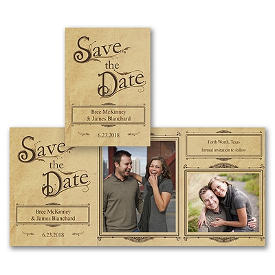 Vintage Damask - Photo Save the Date Card