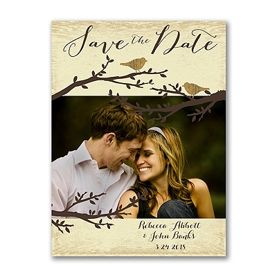 Pair of Lovebirds - Photo Save the Date Card