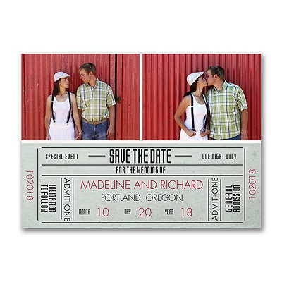 Just the Ticket - Photo Save the Date Postcard