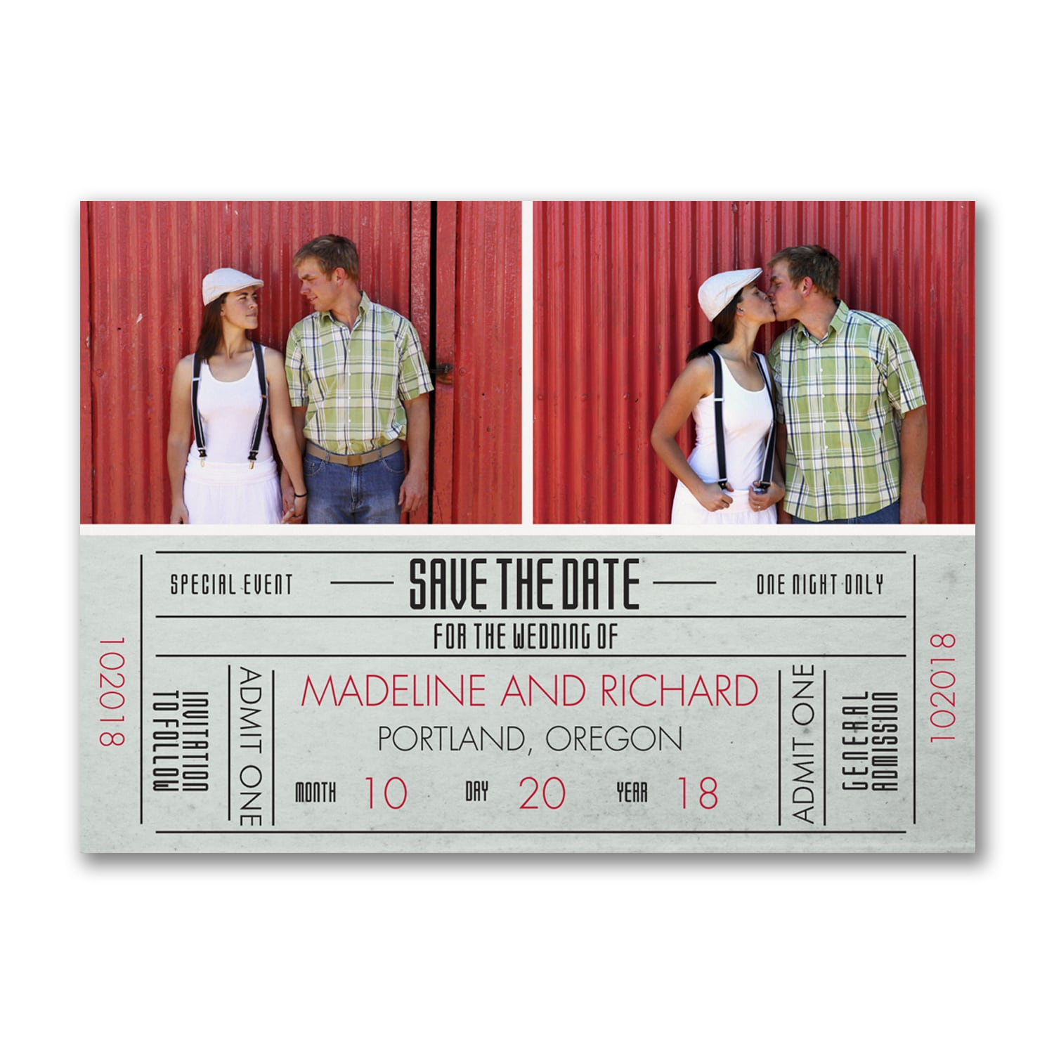 Just the Ticket - Photo Save the Date Postcard > Save the Dates ...