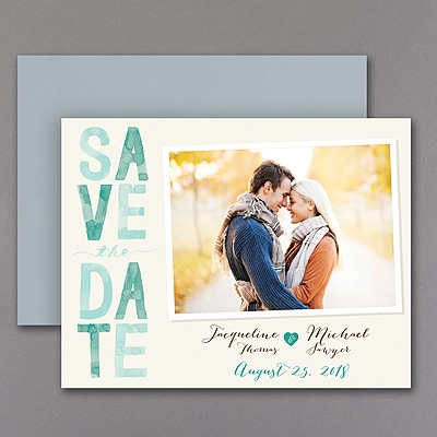 Colorful Typography - Photo Save the Date Magnet - Emerald