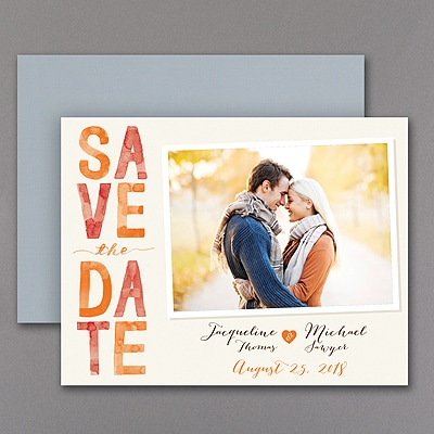 Colorful Typography - Photo Save the Date Magnet - Mango