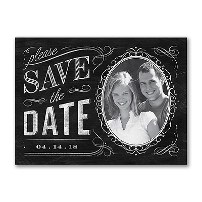 Chalkboard Chic - Photo Save the Date Card
