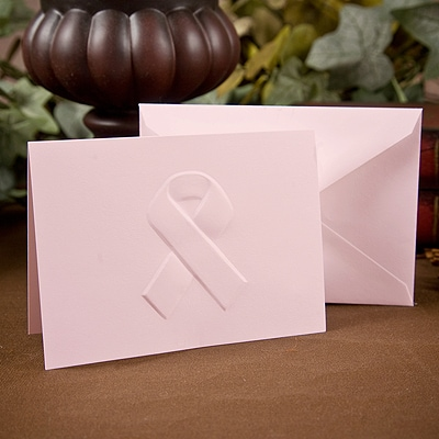 Pink Awareness Ribbon - Note Card and Envelope