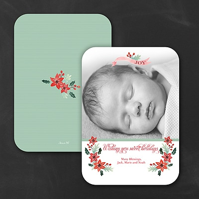 Sweet Poinsettias - Holiday Card - Rounded Corners