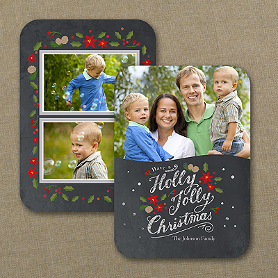 Jolly Chalkboard - Holiday Card - Rounded Corners