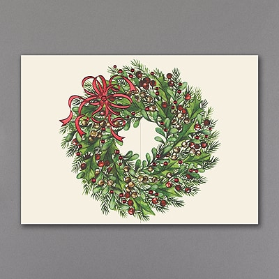 Red Ribbon Wreath - Holiday Card