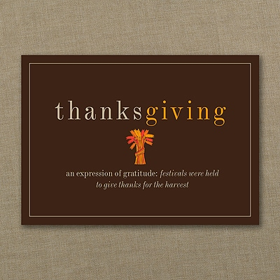 Thanksgiving Definition Card