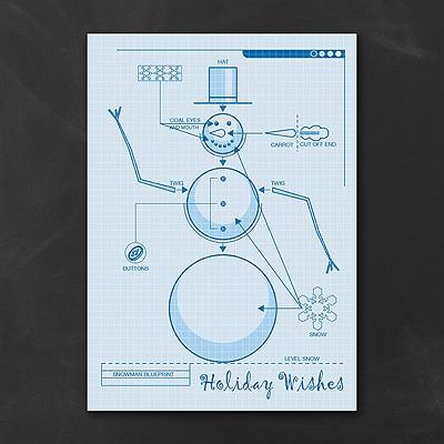 Snowman Blueprint - Holiday Card