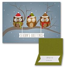 Owl Greetings - Folded Card