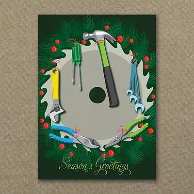 Construction Wreath - Holiday Card